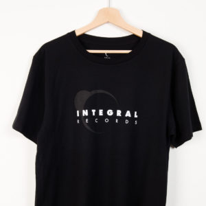 Grey and White Integral Records Logo Tee on Black